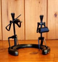 Duo Fiddle and Accordian Sculpture